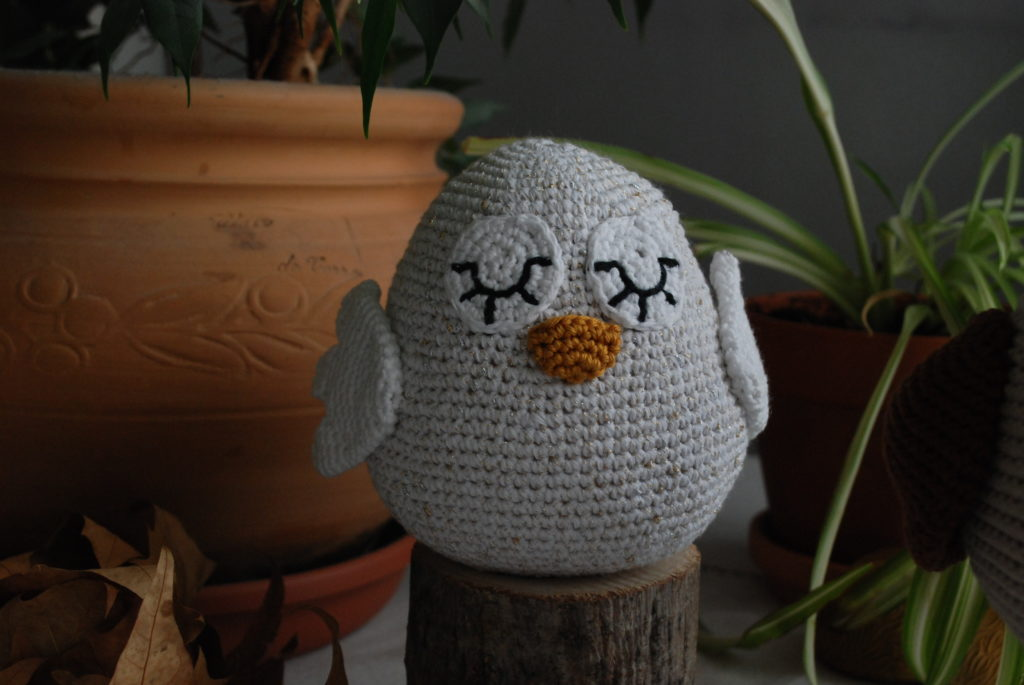 Eyes and beak crochet owl