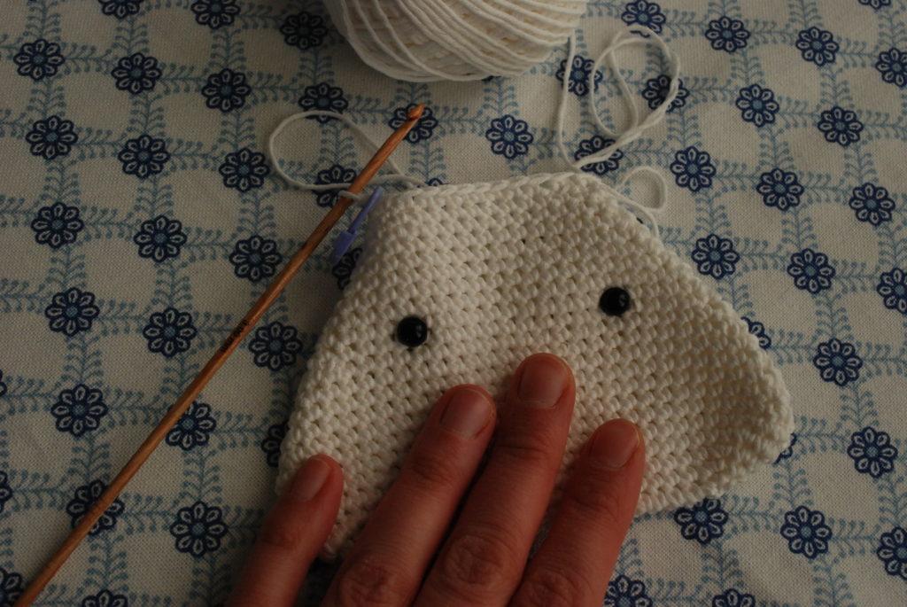 Safety eyes insertion crocheted onigiri