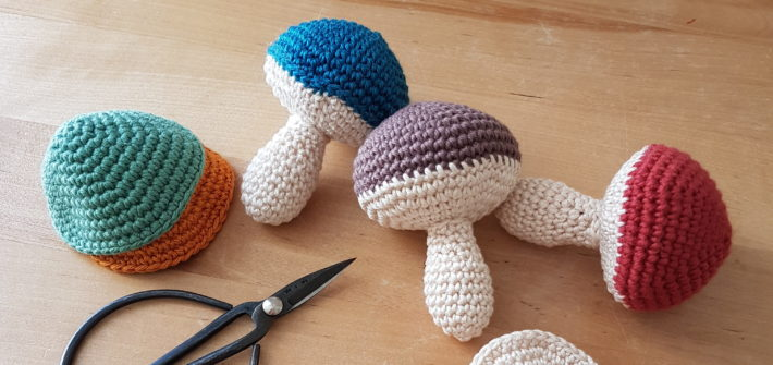 Amigurumi mushrooms