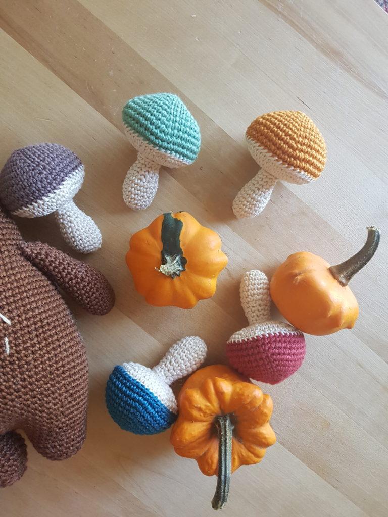 Amigurumi crochet mushrooms